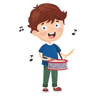 Vektor-illustration des kindes trommel spielend