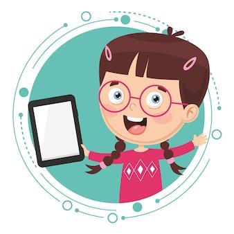 Vektor-illustration des kindes unter verwendung des tablet-pcs