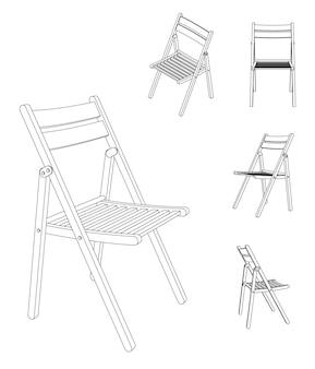 Vektor-illustration des klappstuhls mit verschiedenen ansichten, umrisszeichnung