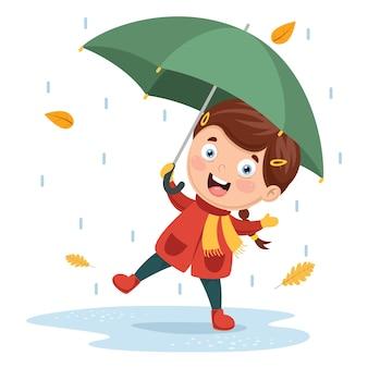 Vektor-illustration des mädchens spielend unter regen