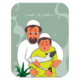 Vektor-illustration des muslimischen mannes mit seinem sohn, der schafe für eid-al-adha mubarak-konzept hält.