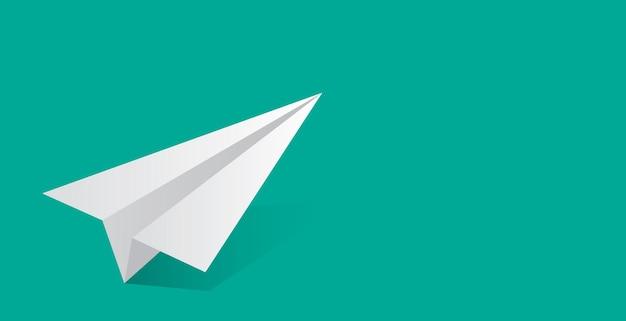 Vektor-illustration des papierflugzeugs. grüner hintergrund