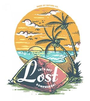 Vektor-illustration des strandes kampierend mit sonnenuntergang-hintergrund