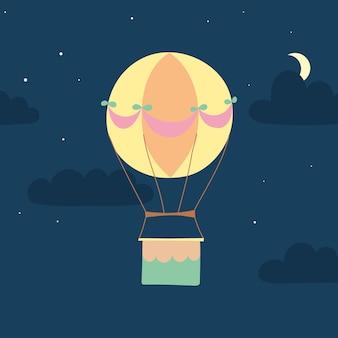 Vektor-illustration des umriss-heißluftballons am himmel. isolierte handgezeichnete ikone