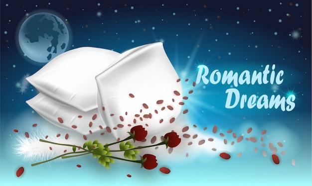 Vektor-illustration, die romantische träume beschriftet.