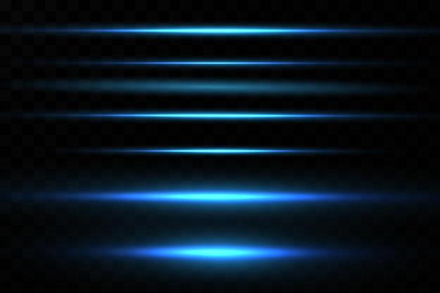 Vektor-illustration einer blauen farbe lichteffekt abstrakte laserstrahlen des lichts chaotisches neon