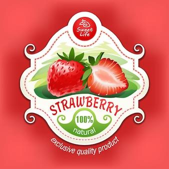 Vektor-illustration einer erdbeere mit blättern