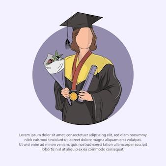 Vektor-illustration einer frau, die absolventin ist