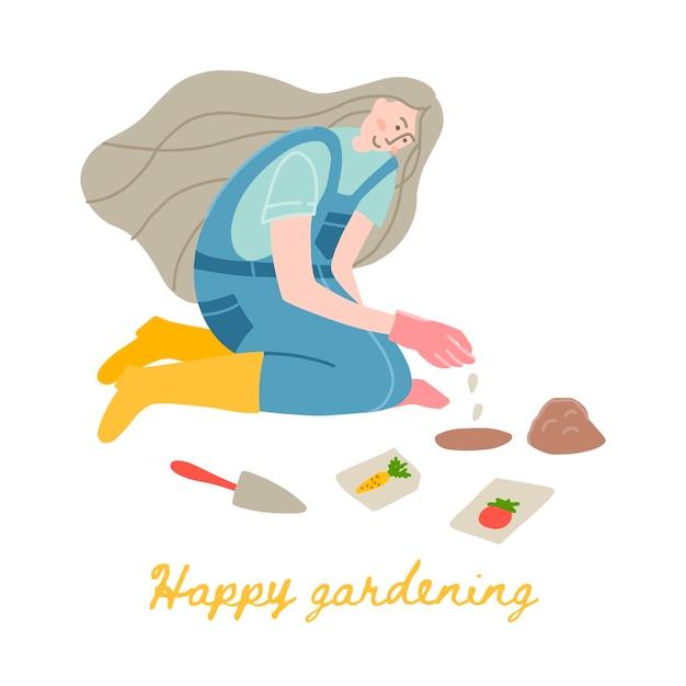 Vektor-illustration einer gärtnerin in gelben gummistiefeln. eine junge frau arbeitet im garten oder auf dem bauernhof. gemüsesamen pflanzen.