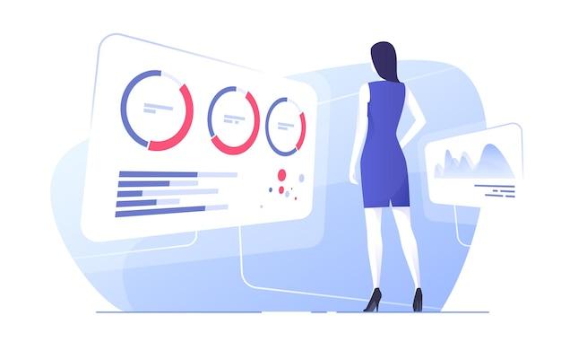 Vektor-illustration einer geschäftsfrau, die daten analysiert