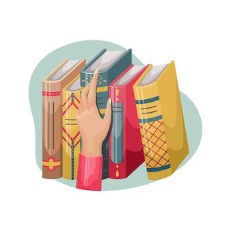 Vektor-illustration einer hand, die ein buch aus einem regal nimmt. bücher mit deckel und buchrücken im retro-stil.