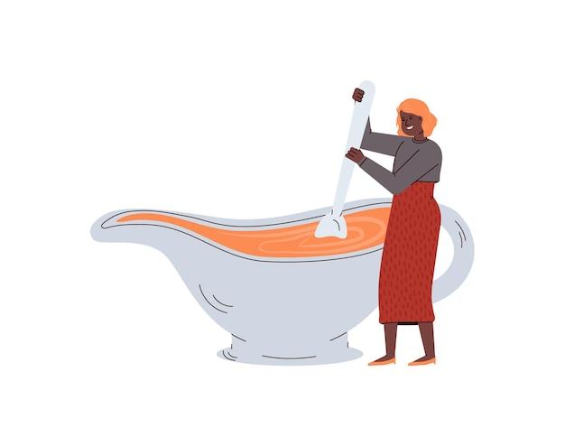 Vektor-illustration einer kleinen köchin, die ein traditionelles gericht zum erntedankfest kocht