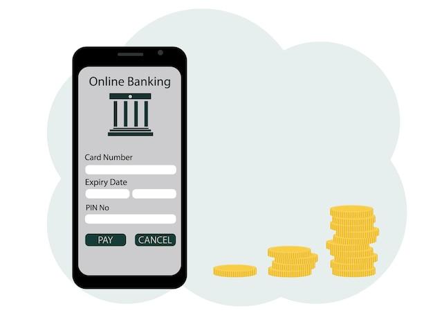 Vektor-illustration einer mobilen anwendung zur eröffnung eines bankkontos. münzen in der nähe wachsen