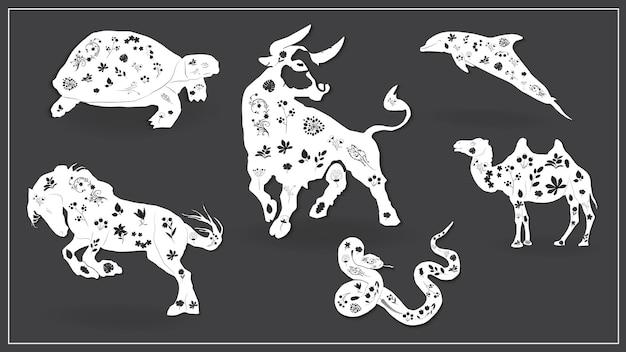 Vektor-illustration einer reihe von afrikanischen tieren. eps 10.