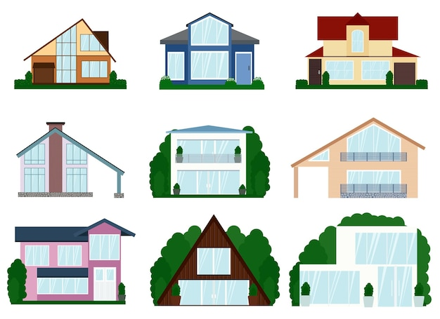 Vektor-illustration einer reihe von verschiedenen modernen häusern mit zwei etagen. alle häuser in einem anderen stil