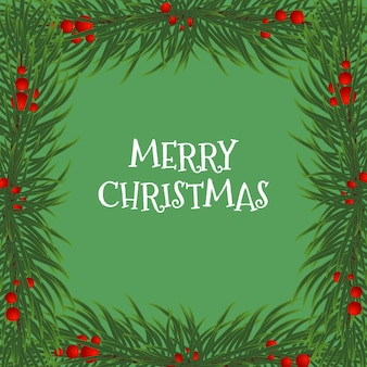 Vektor-illustration einer weihnachtskarte mit einem rahmen aus tannenzweigen und stechpalmenbeeren