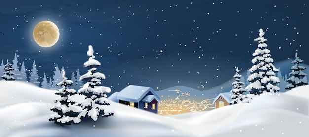 Vektor-illustration einer winterlandschaft.