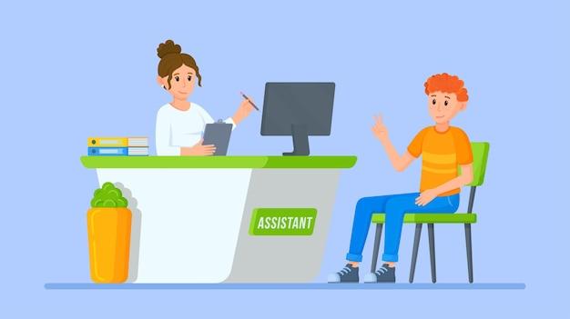 Vektor-illustration eines bankiers beratung bankfiliale kassenabteilung registrierungsschalter