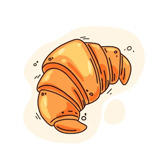 Vektor-illustration eines croissant-symbols für eine bäckerei oder ein lebensmitteldesign. isolierter hintergrund.