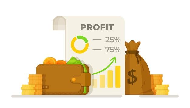 Vektor-illustration eines erfolgsdiagramms schönes design von gewinnstatistiken mit einer brieftasche voller geld