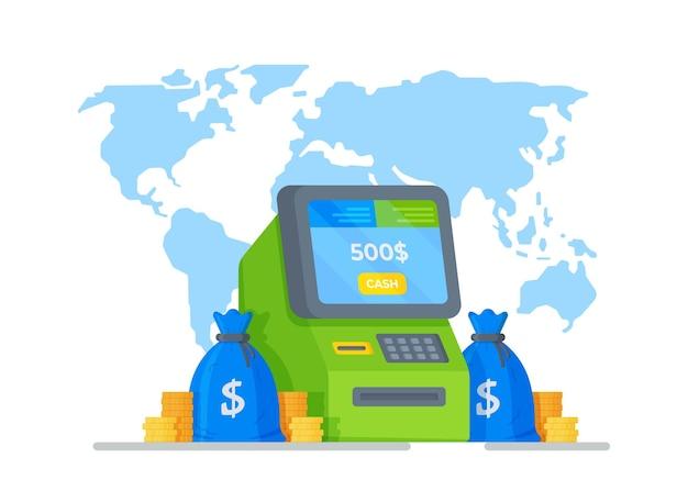 Vektor-illustration eines geldautomaten für bargeldabhebungen zahlung von steuern zur zahlung von schuldendarlehen