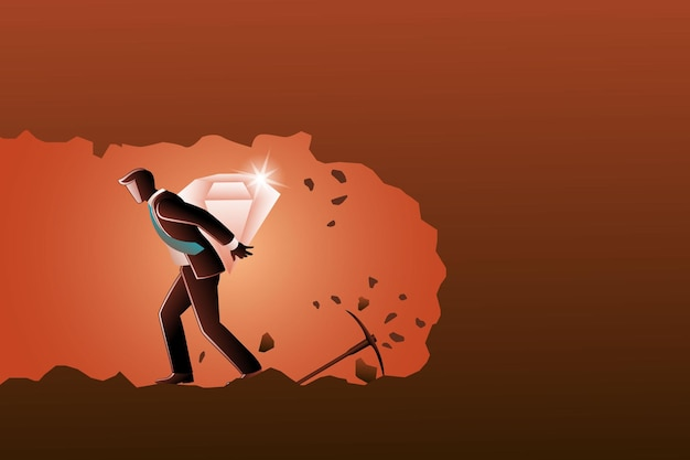 Vektor-illustration eines geschäftsmannes mit einem großen diamanten auf dem rücken aus der u-bahn