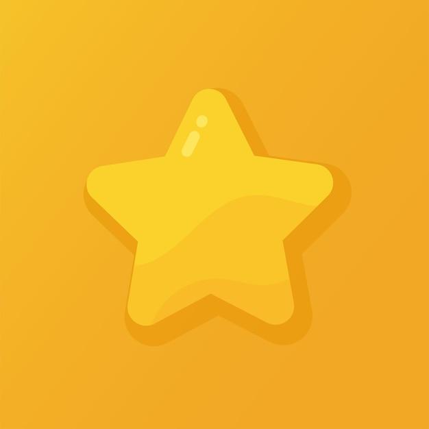 Vektor-illustration eines glänzenden goldenen sterns auf einem orangefarbenen hintergrund. rang, bewertung oder lieblingssymbol.