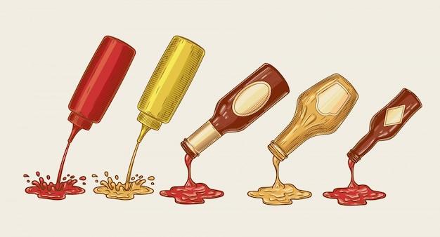 Vektor-illustration eines gravur-stil satz von verschiedenen saucen werden aus flaschen gegossen