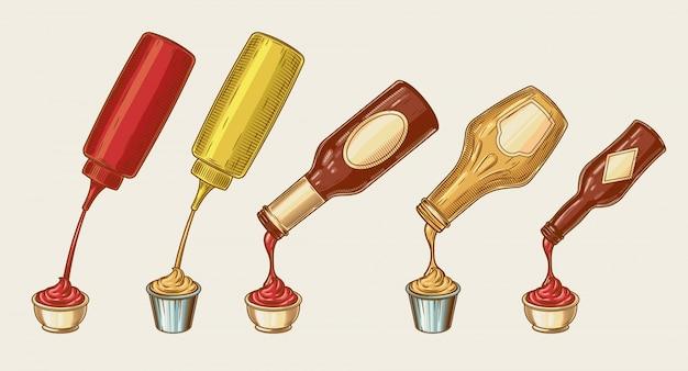 Vektor-illustration eines gravur-stil satz von verschiedenen saucen werden aus flaschen in schüsseln gegossen