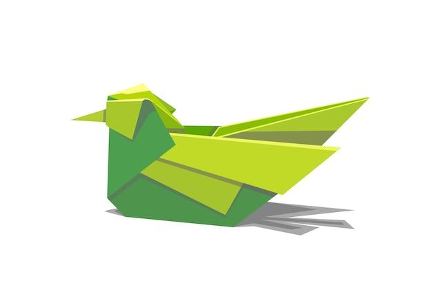 Vektor-illustration eines grünen vogels in form von origami mit einem schatten