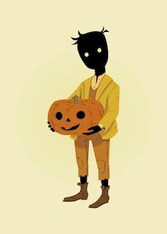 Vektor-illustration eines jungen in halloween-kostüm und hält kürbis