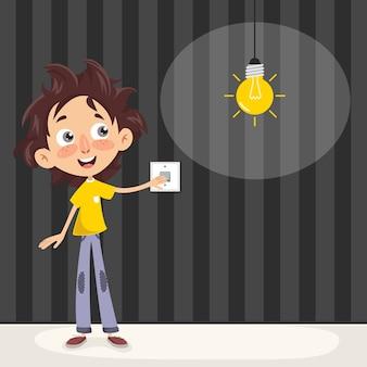 Vektor-illustration eines kindes, welches das licht einschaltet
