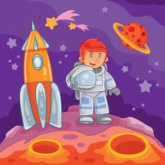 Vektor-illustration eines kleinen jungen astronauten