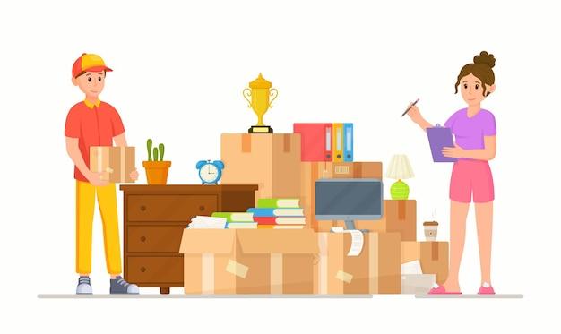 Vektor-illustration eines lieferdienstes. umzug in ein anderes haus oder eine andere wohnung. ein haufen kisten und haushaltsgegenstände. topfpflanzen, bücher, möbel und andere dinge.