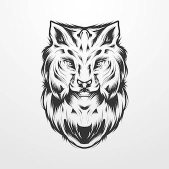 Vektor-illustration eines luchskopfes mit vintage, alten klassischen monochromen stil kreis ornament. geeignet für t-shirts, drucke, logos und andere bekleidungsprodukte