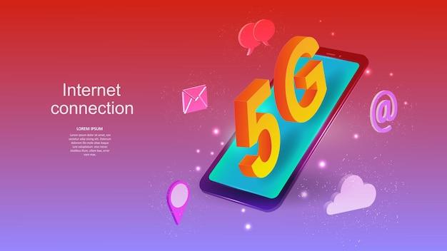 Vektor-illustration eines mobiltelefons mit einem 5g-internetverbindungszeichen. wissenschaft, futuristisch, web, netzwerkkonzept, kommunikation, hochtechnologie. esp 10