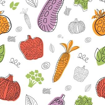 Vektor-illustration eines nahtlosen hintergrunds von gemüse. lineart-grafik. gemüse-hintergrund. skandinavischer stil. gesundes essen-muster, isoliert auf weißem hintergrund.