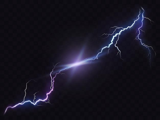 Vektor-illustration eines realistischen stil der hellen leuchtenden blitz isoliert auf einem dunklen, natürlichen lichteffekt.