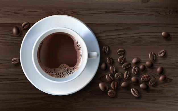 Vektor-illustration eines realistischen stil der weißen kaffeetasse mit einer untertasse und kaffeebohnen, draufsicht