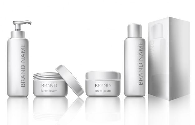 Vektor-illustration eines realistischen stil der weißen kunststoff-kosmetik-container mit geschlossenen und offenen kappen