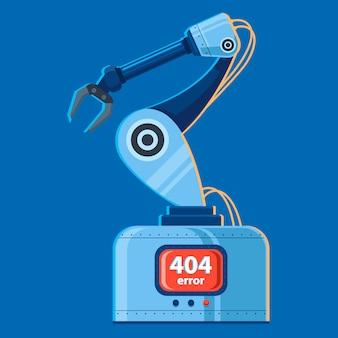 Vektor-illustration eines roboterarms, der gebrochen hat. fehler 404.