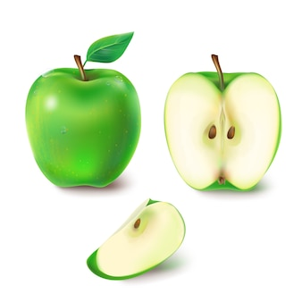 Vektor-illustration eines saftigen grünen apfel.