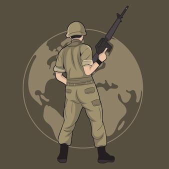Vektor-illustration eines soldaten, der die erde bewacht