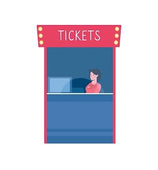 Vektor-illustration eines ticketschalters in einem kino