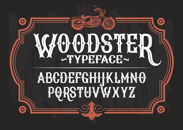 Vektor-illustration eines vintage-schriftart, das lateinische alphabet in einem retro-rahmen mit einem benutzerdefinierten motorrad.