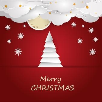 Vektor-illustration eines weihnachtsbaumes auf rotem grund mit wolken und schneeflocken. eps 10.