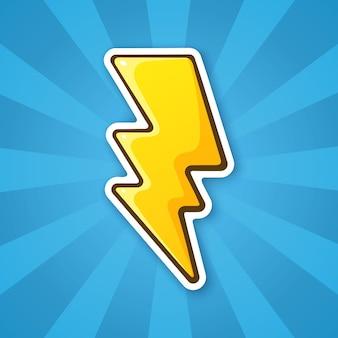 Vektor-illustration elektrischer blitz blitz thunderbolt strike symbol aufkleber im cartoon-stil