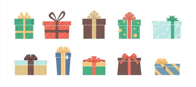 Vektor-illustration flache farbe geschenkboxen set weihnachts- oder geburtstagsgeschenke sammlung