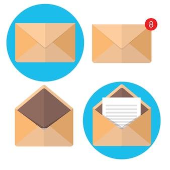 Vektor-illustration flacher umschlag e-mailing und globale kommunikation. brief. soziales netzwerk.
