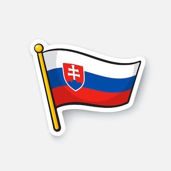 Vektor-illustration flagge der slowakei auf fahnenmast standortsymbol für reisende cartoon-aufkleber